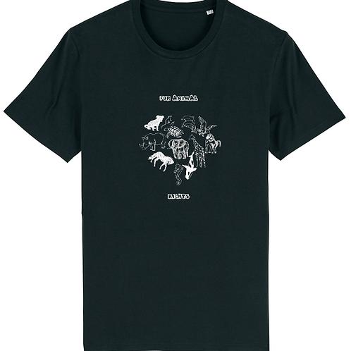 """T-shirt imprimé Homme """"For Animal Rights"""" blanc sur noir"""