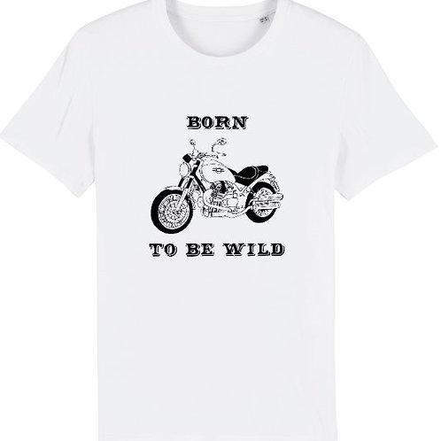 """T-shirt imprimé Homme """"Born to be Wild"""" noir sur blanc"""
