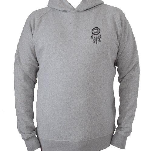 Sweatshirt gris à capuche homme en coton bio aperçu recto/mode éthique/dreamshirtfactory