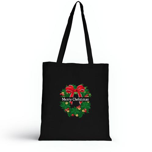 Totebag noir en coton bio/sac en toile/Merry Christmas/aperçu recto/mode éthique/dreamshirtfactory