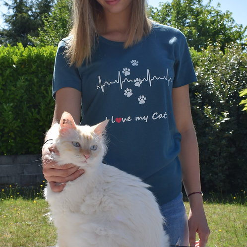"T-Shirt imprimé Femme ""I Love my Cat"" couleur Stargazer"