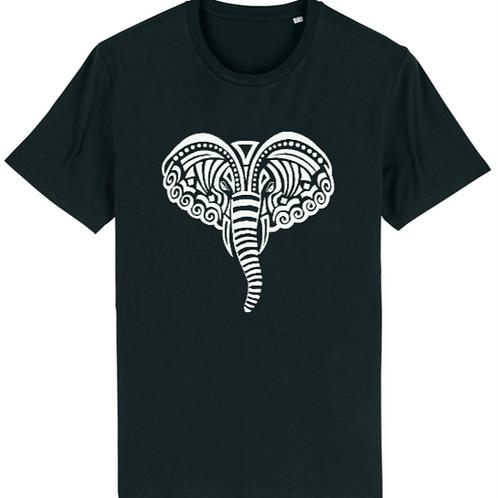 """T-shirt imprimé Homme """"Eléphant"""" blanc sur noir"""
