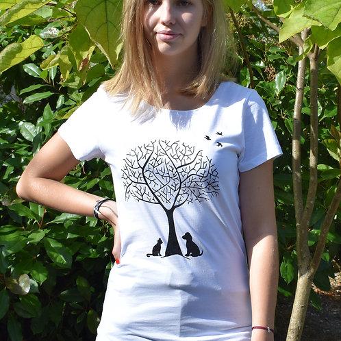"""T-shirt imprimé Femme """"Nature"""" noir sur blanc"""
