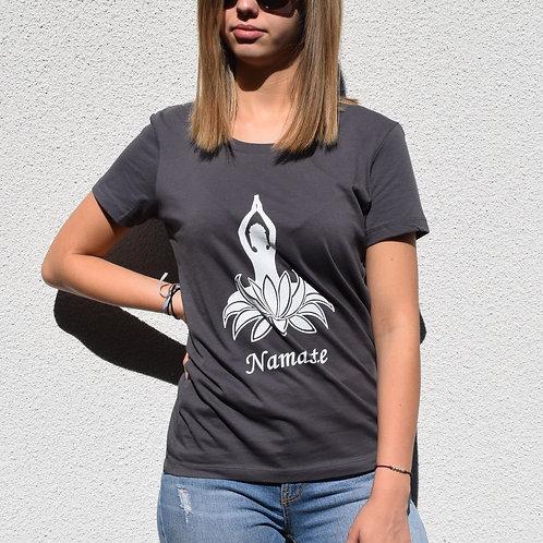 Tee-shirt Anthracite femme en coton bio/Namaste/yoga/aperçu recto/mode éthique/dreamshirtfactory