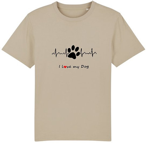 "T-Shirt imprimé Homme ""I Love my Dog"" couleur Desert Dust"