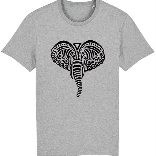 """T-shirt imprimé Homme """"Eléphant"""" noir sur gris"""
