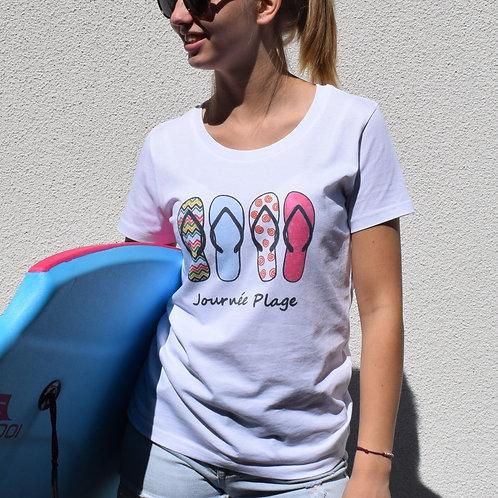 Tee-shirt blanc femme en coton bio/journée plage/aperçu recto/mode éthique/dreamshirtfactory