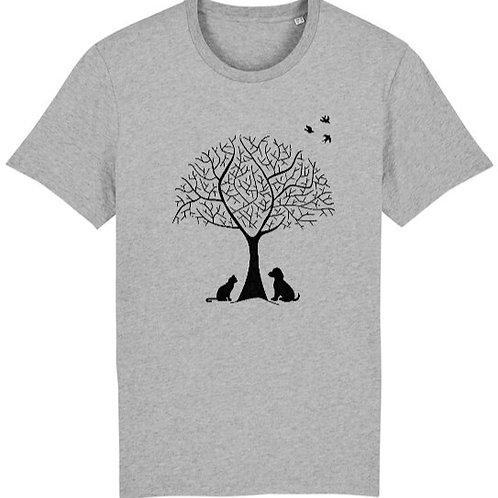 """T-shirt imprimé Homme """"Nature"""" noir sur gris"""