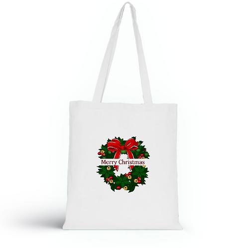 Totebag blanc en coton bio/sac en toile/Merry Christmas/aperçu recto/mode éthique/dreamshirtfactory