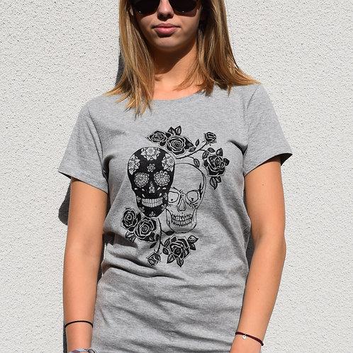 """T-shirt imprimé Femme """"Têtes de mort"""" noir sur gris"""