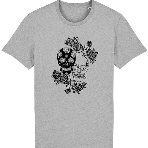 """T-shirt imprimé Homme """"Têtes de mort"""" noir sur gris"""