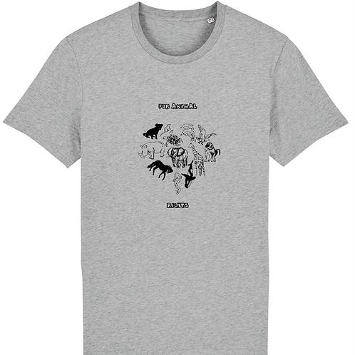 """T-shirt imprimé Homme""""For Animal Rights"""" noir sur gris"""