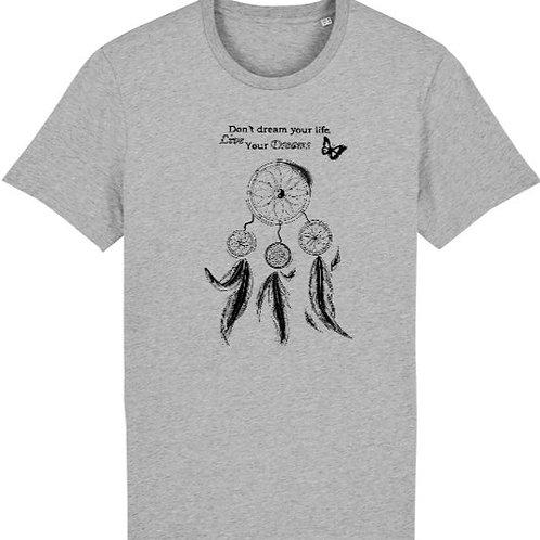 """T-shirt imprimé Homme """"Attrape-rêves"""" noir sur gris"""