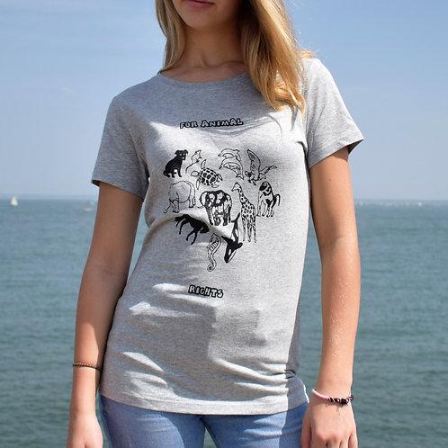 Tee shirt gris Femme en coton bio/For Animal Rights/aperçu recto/mode éthique/dreamshirtfactory