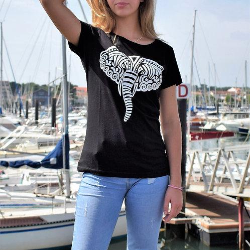 Tee shirt noir Femme en coton bio/Eléphant/aperçu recto/mode éthique/dreamshirtfactory