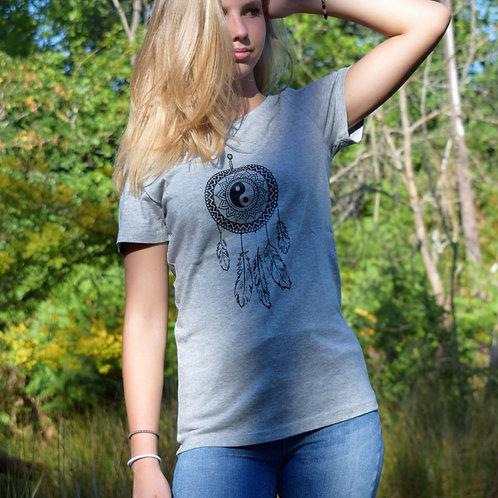 Tee shirt gris Femme en coton bio/Dreamcatcher/aperçu recto/mode éthique/dreamshirtfactory