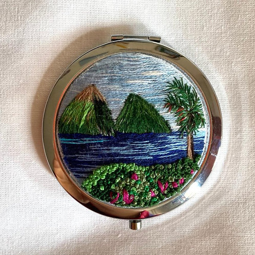 Hand Embroidered Landscape Compact Mirror
