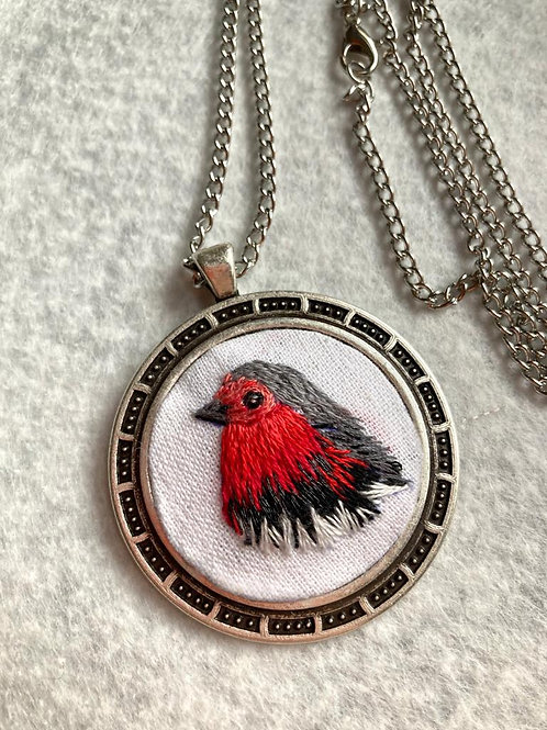 Hand Embroidered Red Bird Necklaces