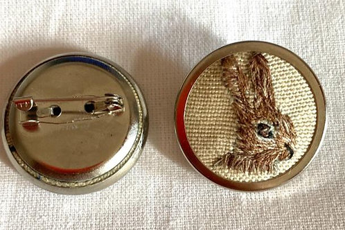 Hand Embroidered Rabbit Brooch