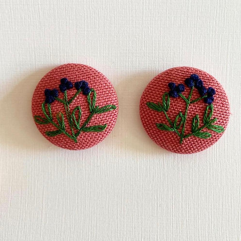 Hand Embroidered Flower Earring