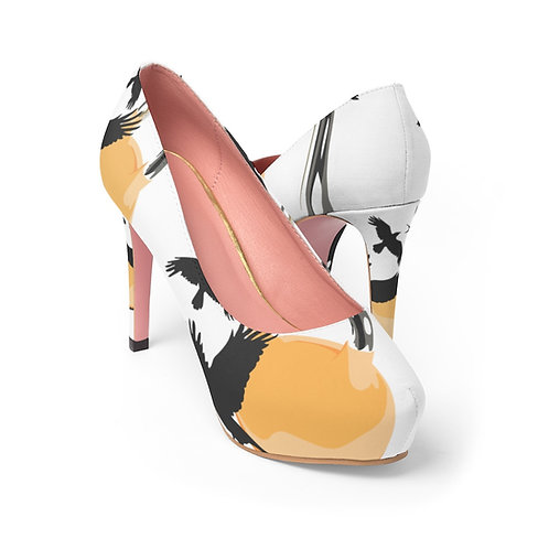 Yellow kettlebell fly Women's Platform Heels