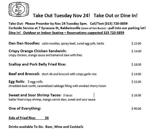 Tuesday Nov 24 din in or take out menu.J