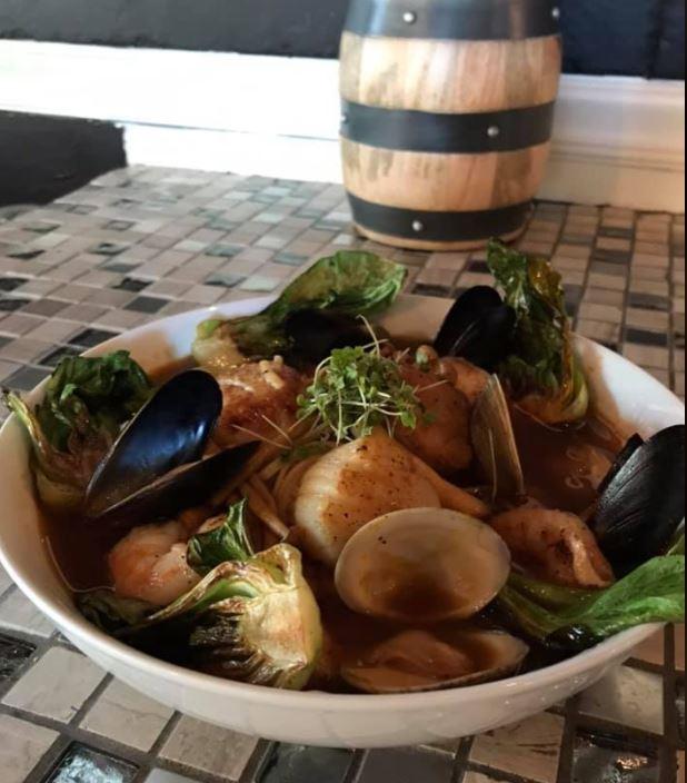 halibut seafood udon noodle bowl