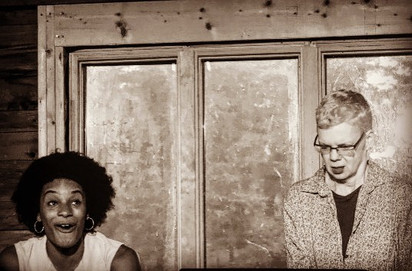 Zhanah Wyche and Susan Tierney in a work