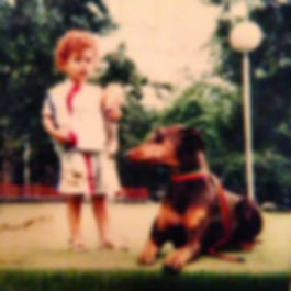 Me and our fist dog, Red. Points to anyo
