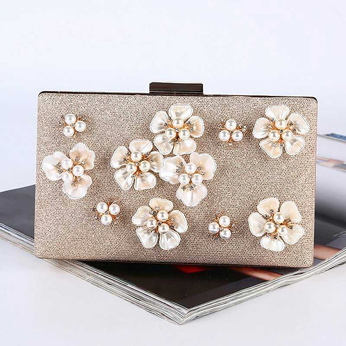 Rectangular Flowers and Pearls Clutch Bag