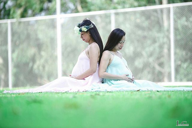 Gorgeous preggy sisters wearing Faye dresses in blush pink and mint green 😍 thank you _iamwindhen f