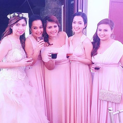 _meimeianime and her bridesmaids wearing Love, C infinity gowns in blush pink ❤️ lovely entourage! C