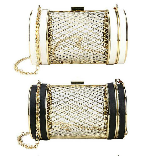 Drum Barrel Metal Cage clutch bag