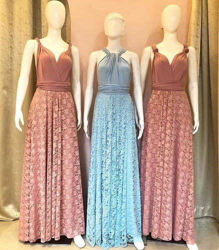 These infinity gowns with lace overlay a