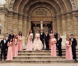 Lovely bridesmaids in Pantone #63 infinity gowns💗 thank you ms