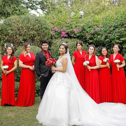 _chan_dy08's lovely bridesmaids in our lipstick red infinity gowns!!! Such a classic color😍😍😍 PM