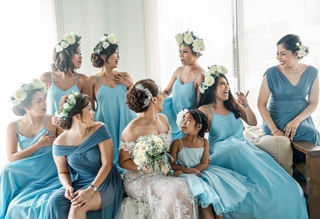 Our custom Lucia (previously named Faye) gowns in Serenity blue worn by these lovely bridesmaids of
