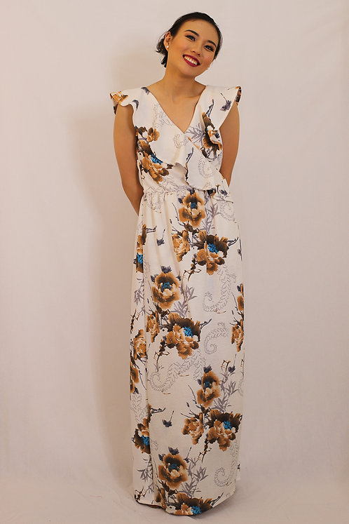 Maikah Wrap Dress in White Floral Print