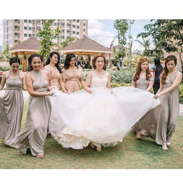 Rustic feels!! 😍😍😍 beautiful bridesmaids of ms. Apple wearing our custom infinity gowns in rustic