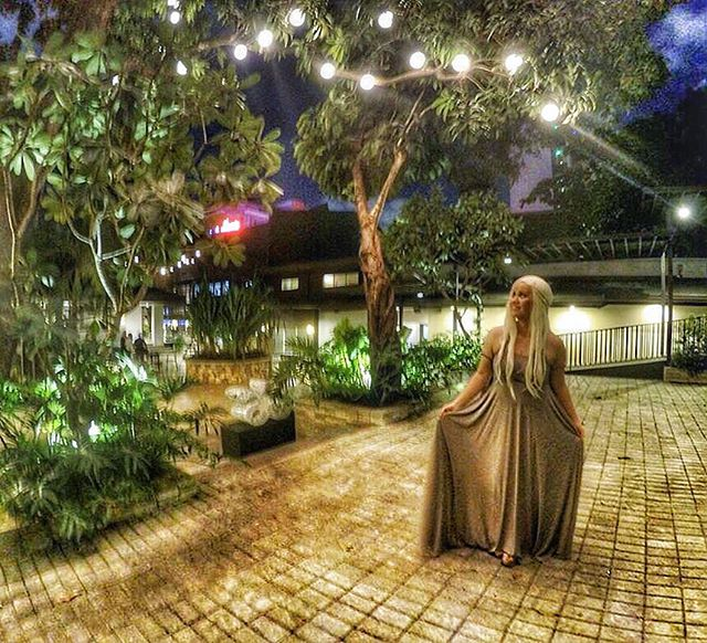 Woah! Khaleesi, mother of dragons, wearing our infinity gown in mid gray!!! 😍😍😍 thank you _lookin
