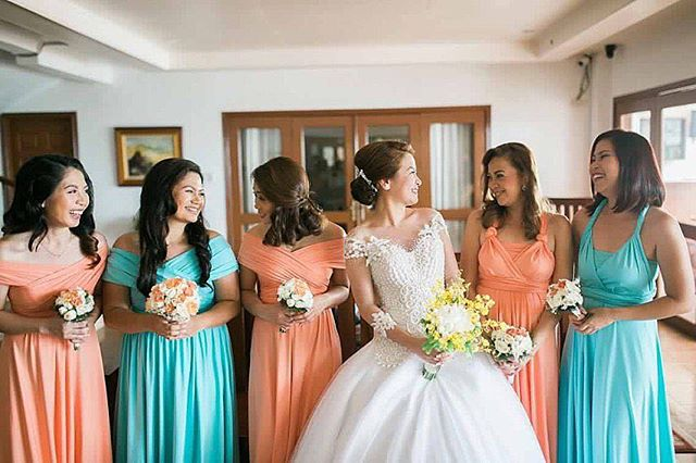 green + peach = ❤️beautiful girls of _bonikkay wearing custom infinity gowns by Love, C