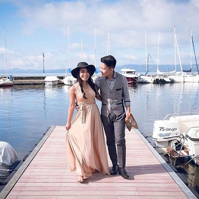 Gorgeous _vexiathesnowhite wearing our nude infinity gown for her prenup sesh in Italy 😍 thank you