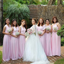 Blushing bridesmaids of the ever gorgeous _roceebriones wearing _lovecmanila infinity gowns in blush