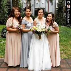 The beautiful bride with her bridesmaids wearing Love, C infinity gowns ❤️ best wishes _lovelett_lee