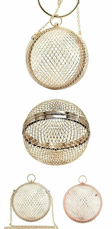 Round metal cage clutch bag