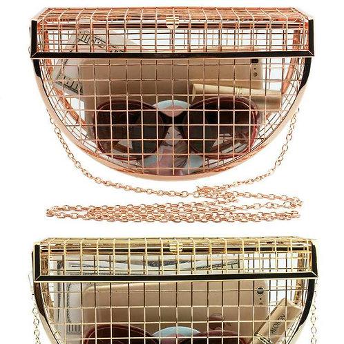 Crossbody Metal Cage clutch bag