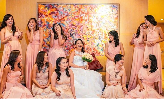 Bridesmaids pretty in peach! 😍 ❤️PM us for on hand infinity gowns and entourage package rates! #inf