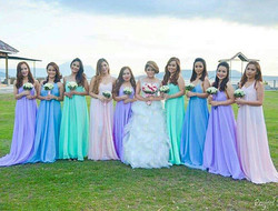 Pastel colors are just perfect! 💚💙💜❤️ _jackiefalales' stunning bridesmaids wearing our custom Luc