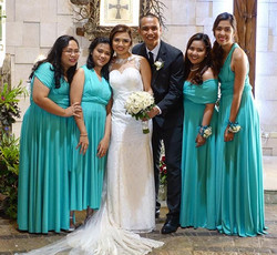 Beautiful couple _kendicandy & _regalroy with their bridesmaids in custom infinity gowns by Love, C
