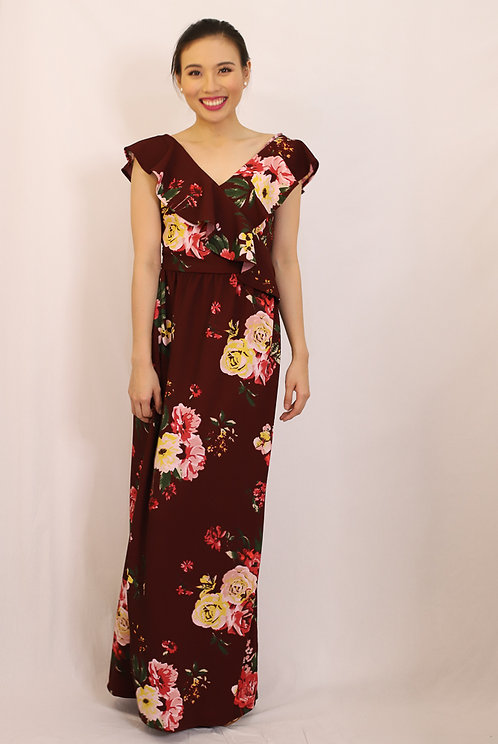 Maikah Wrap Dress in Burgundy Floral Print